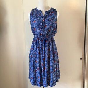 LOFT dress blue with red flower size:XS